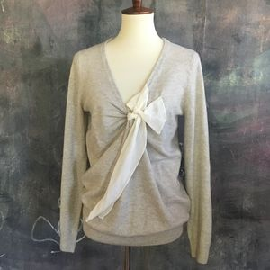 J Crew Grey Cashmere V-Neck Sweater w/ Bow Accent